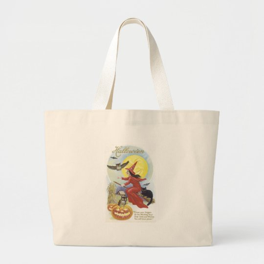 Flying Witch, Bats, Cat, Owl Moon Large Tote Bag