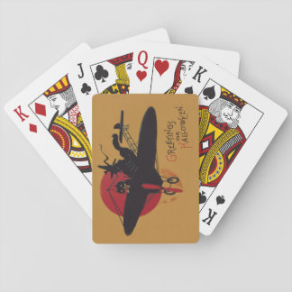 Flying Witch Black Cat Airplane Full Moon Playing Cards