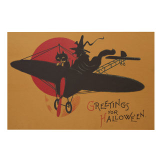 Flying Witch Black Cat Airplane Full Moon Wood Wall Art