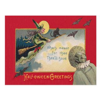 Flying Witch Black Cat Bat Full Moon Postcard
