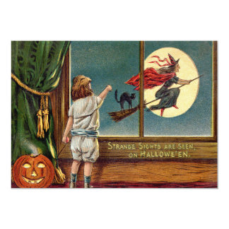 Flying Witch Black Cat Ful Moon Pumpkin 5x7 Paper Invitation Card
