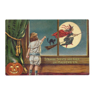 Flying Witch Black Cat Ful Moon Pumpkin Placemat