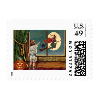 Flying Witch Black Cat Ful Moon Pumpkin Postage