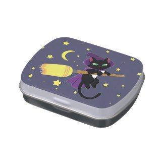 Flying Witch Cat Jelly Belly Tin