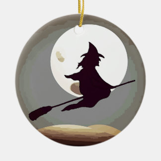 Flying Witch Ceramic Ornament