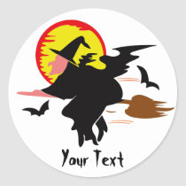 Flying Witch Classic Round Sticker