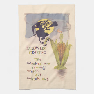 Flying Witch Full Moon Corn Cob Candle Towel