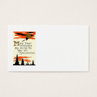 Flying Witch Full Moon Night Business Card