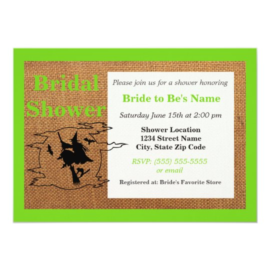 Flying Witch Halloween Bridal Shower Invitation