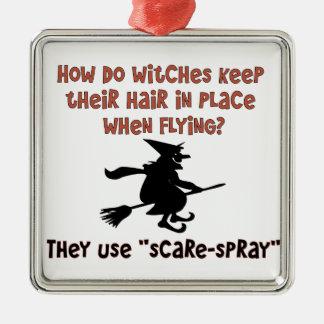 Flying Witch Halloween Joke Metal Ornament