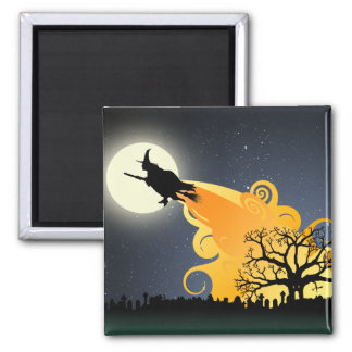 Flying Witch Halloween Magnet