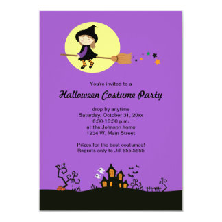 """Flying Witch Halloween Party Invitations 5"""" X 7"""" Invitation Card"""