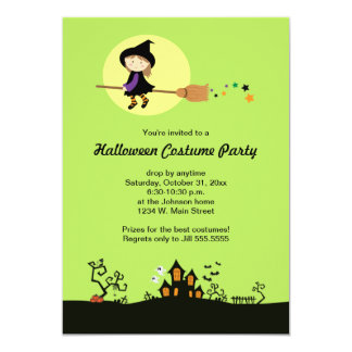 Flying Witch Halloween Party Invitations