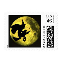Flying Witch Halloween Postage Stamp