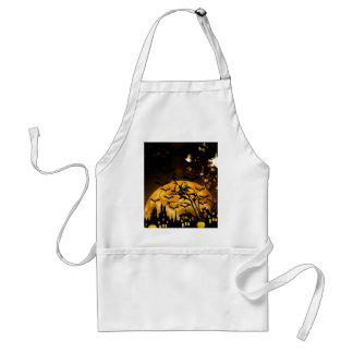 Flying Witch Harvest Moon Bats Halloween Gifts Adult Apron
