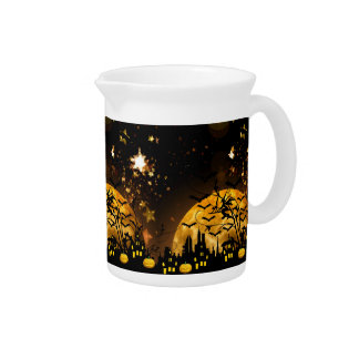 Flying Witch Harvest Moon Bats Halloween Gifts Beverage Pitcher