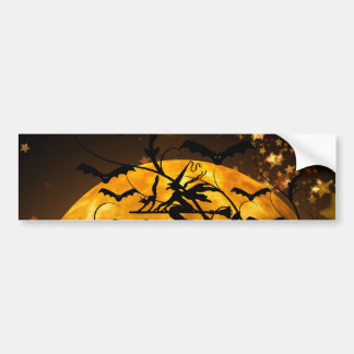 Flying Witch Harvest Moon Bats Halloween Gifts Bumper Sticker