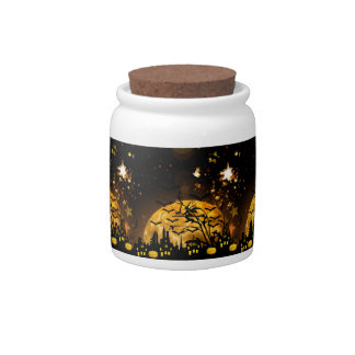 Flying Witch Harvest Moon Bats Halloween Gifts Candy Jars