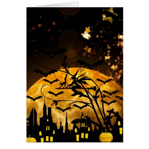 Flying Witch Harvest Moon Bats Halloween Gifts Greeting Card