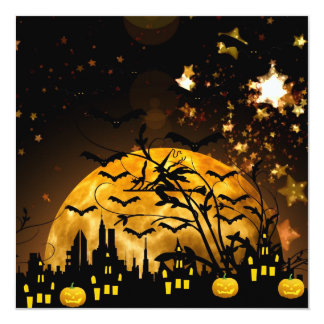 Flying Witch Harvest Moon Bats Halloween Gifts Card