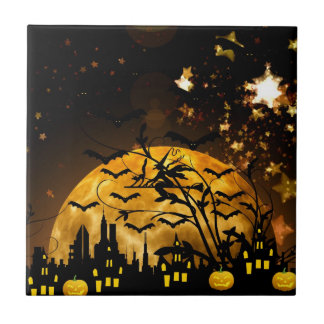 Flying Witch Harvest Moon Bats Halloween Gifts Ceramic Tile