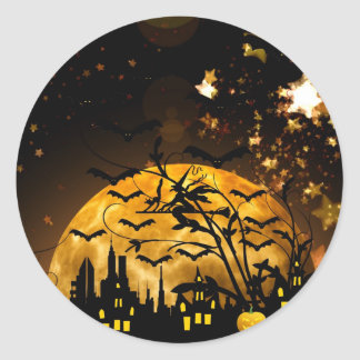 Flying Witch Harvest Moon Bats Halloween Gifts Classic Round Sticker