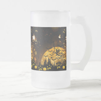 Flying Witch Harvest Moon Bats Halloween Gifts Frosted Glass Beer Mug