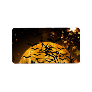 Flying Witch Harvest Moon Bats Halloween Gifts Label