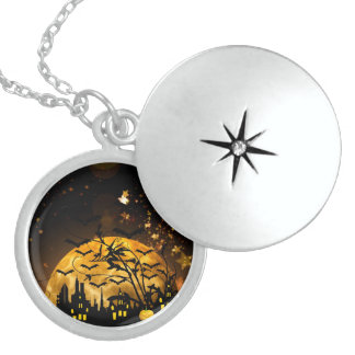 Flying Witch Harvest Moon Bats Halloween Gifts Locket