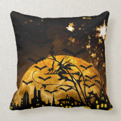 Flying Witch Harvest Moon Bats Halloween Gifts Throw Pillows