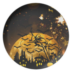 Flying Witch Harvest Moon Bats Halloween Gifts Plates