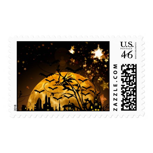 Flying Witch Harvest Moon Bats Halloween Gifts Postage Stamp