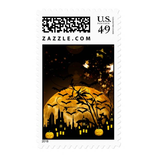 Flying Witch Harvest Moon Bats Halloween Gifts Postage Stamps
