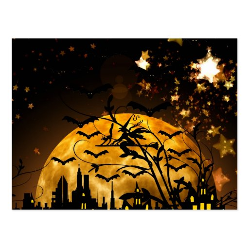 Flying Witch Harvest Moon Bats Halloween Gifts Postcards