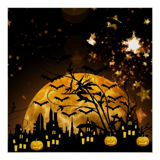 Flying Witch Harvest Moon Bats Halloween Gifts Poster
