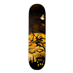 Flying Witch Harvest Moon Bats Halloween Gifts Skate Deck