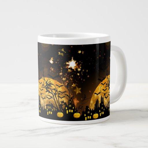 Flying Witch Harvest Moon Bats Halloween Gifts Jumbo Mugs