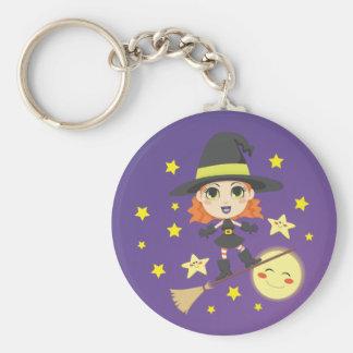 Flying Witch Basic Round Button Keychain