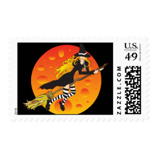 flying witch&moon postage stamp