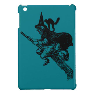 Flying Witch on Broom with Black Cat iPad Mini Cases