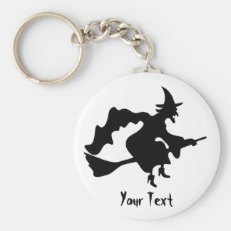 flying witch on broomstick key chain