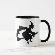 flying witch on broomstick mug