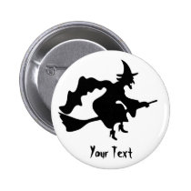 flying witch on broomstick pinback button