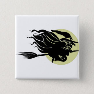 Flying Witch On Broomstick With A Big Moon Pinback Button