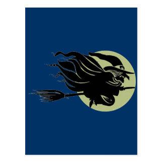 Flying Witch On Broomstick With A Big Moon Postcard