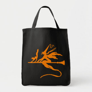 Flying Witch (Orange) Grocery Tote Bag