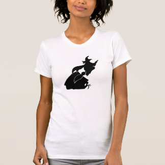 Flying Witch over House Silhouette T-shirts