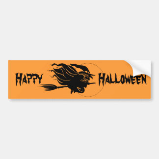 Flying Witch Silhouette Car Bumper Sticker