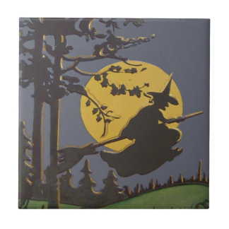 Flying Witch Silhouette Full Moon Ceramic Tile