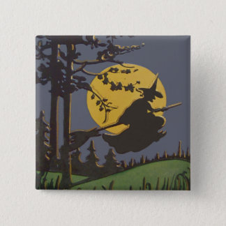 Flying Witch Silhouette Full Moon Pinback Button